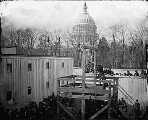 Hanging - The execution of Henry Wirz in 1865 near the U.S. Capitol, moments after the trap door was sprung.