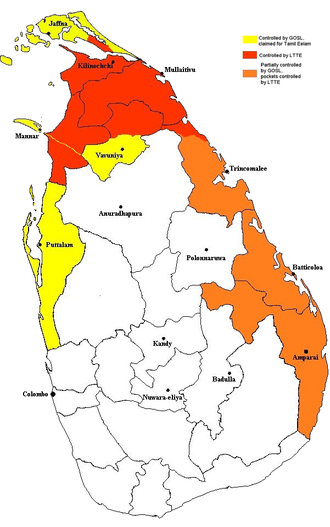 Eelam War IV - Red area shows the approximate areas of Sri Lanka controlled by the LTTE and the Government, as of December 2005.