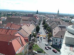 Fő Street, view from Main Churh tower, 2006 Pápa.jpg