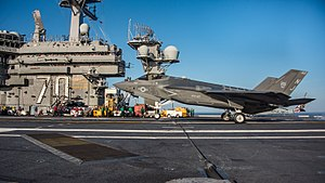VFA-125 - Image: F 35C Lightning II of VFA 125 lands on USS Carl Vinson (CVN 70) off Southern California on 18 October 2017 (171018 N BL637 0024)