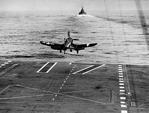 VF-84 - Image: F4U 1D of VF 84 takes off from USS Bunker Hill (CV 17) in February 1944