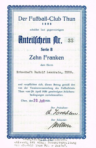 FC Thun - Participation certificate of the FC Thun, issued 20. July 1936