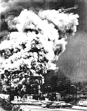 Environmental impact of the coal industry - The Farmington coal mine disaster kills 78. West Virginia, US, 1968.