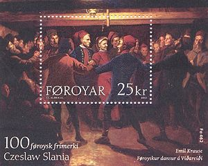 Faroese dance - Painting of 1904 on a stamp of 2003.