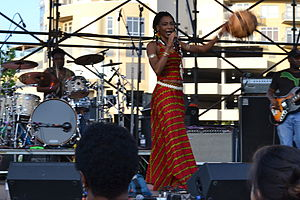 Fatoumata Diawara - Fatoumata Diawara band performing at the World Beat Music festival. Austin, Texas, 2013