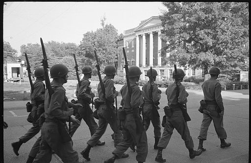 Federalized National Guard troops on the campus of the University of Alabama, June 11, 1963