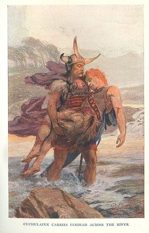 "Cú Chulainn - ""Cuchulainn Carries Ferdiad Across the River"", illustration by Ernest Wallcousins from Charles Squire, Celtic Myths and Legends, 1905"