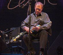 Finbar Furey playing the uilleann pipes in 2012.