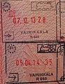 Finland vainikkala train passport stamp old2013 new2014.JPG