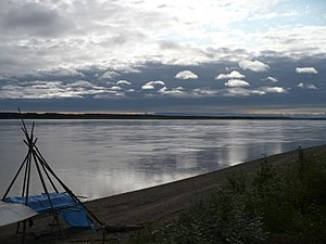 Mackenzie River - Dene fishing camp on the Mackenzie River, north of the Arctic Circle