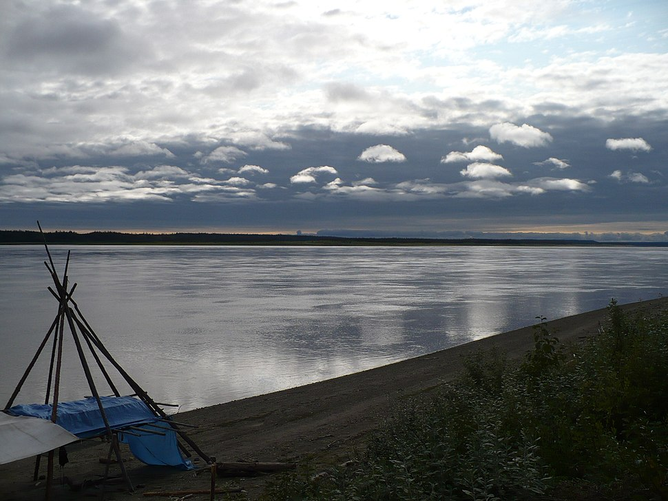 Fish drying racks and Mackenzie River
