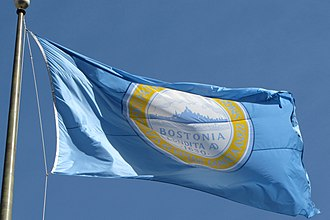 Flag of Boston - Municipal flag of Boston waving