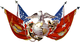 The Eagle, Globe and Anchor along with the U.S. flag, the Marine Corps flag and the Commandant's flag Flags, USMC.png