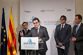 Guy Verhofstadt - Verhofstadt with Catalonia's leader Artur Mas in 2012