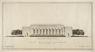 Folger Shakespeare Library - Paul Philippe Cret's original designs for the east facade of the Folger Shakespeare Library, early 1930s