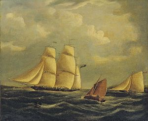 Follower of James Edward Buttersworth - An armed brig and cutter in the Channel.jpg