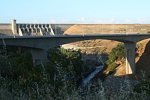 Folsom Dam - The new Folsom Lake Crossing bridge, built to bypass the dam, opened in March 2009