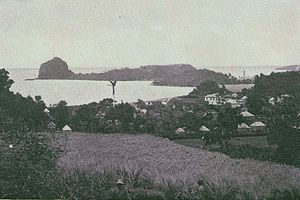 Fort Charlotte, Saint Vincent - Fort Duvernette and Young's Island from Calliaqua