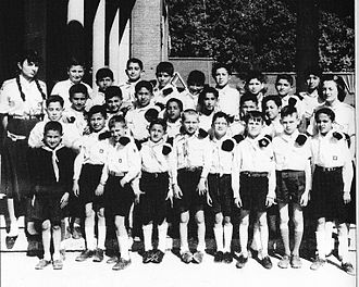 Farah Pahlavi - Farah Diba, with Iranian boyscouts in Paris