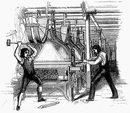 Early 19th century workplace militancy manifested in the Luddite riots, when unemployed workers destroyed labour saving machines FrameBreaking-1812.jpg