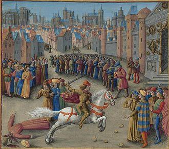 Isaac II Angelos - Image: Français 5594, fol. 193v haut, Mort d'Étienne Hagiochristophoritès