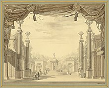 Set design for the première of the revised, French-language version of Alceste (Source: Wikimedia)