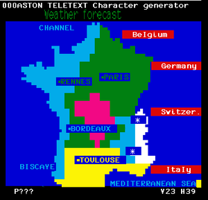 Antiope (teletext) - A Ceefax-style weather map for France