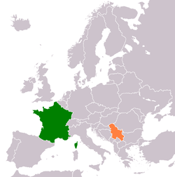 Map indicating locations of France and Serbia