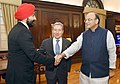Francois Philippe Champagne and the Minister of Innovation, Science and Economic Development, Mr. Navdeep Singh Bains call on the Union Minister for Finance and Corporate Affairs, Shri Arun Jaitley, in New Delhi.jpg