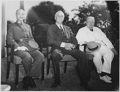 Chiang with Franklin D. Roosevelt and Winston Churchill in Cairo, Egypt, November 1943 Franklin D. Roosevelt, Chiang,Kai Shek, and Churchill in Cairo, Egypt - NARA - 196609.jpg