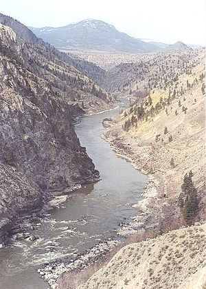 Fraser Canyon - View of Fraser Canyon looking upstream from Fountain, British Columbia.