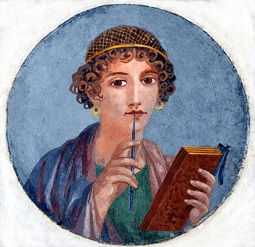 Fresco showing a woman so-called Sappho holding writing implements, from Pompeii, Naples National Archaeological Museum (14842101892) restored