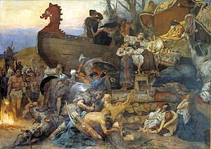 Rus' people - Ship burial of a Rus chieftain as described by the Arab traveler Ahmad ibn Fadlan who visited north-eastern Europe in the 10th century. Henryk Siemiradzki (1883)