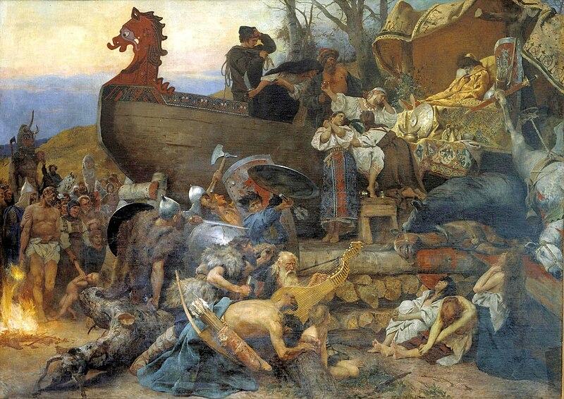 Sepoltura Rus di un capo riprodotta da Henryk Siemiradzki nel 1883 secondo la descrizione di Ibn Fadlan