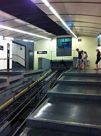 Montjuïc Funicular - Parc de Montjuïc station, showing cables and control room