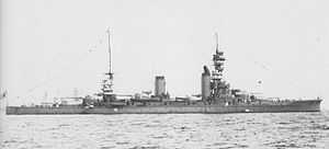 Japanese battleship Fusō - Fusō at anchor in Yokohama, 3 February 1928