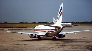 East Midlands Airport - Britannia Airways Boeing 737 operating holiday charters in 1982