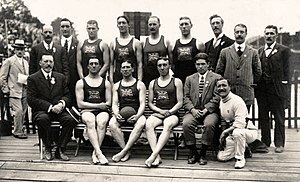 Water polo at the 1912 Summer Olympics - The winning British water polo team.