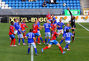 GIF Sundsvall - GIF Sundsvall in their traditional blue and white kits during an Allsvenskan game against Helsingborgs IF.
