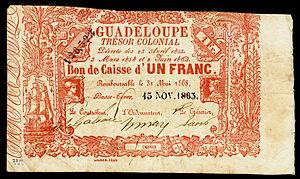 Guadeloupe franc - Guadaloupe Tresor Colonial Bons de Caisse, one franc (1863)