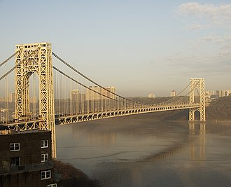 Chris Christie - George Washington Bridge over the Hudson River, looking west from Manhattan to Fort Lee and the Palisades