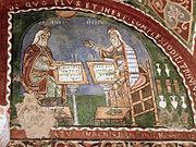 Γαληνός και Ιπποκράτης, ιταλική τοιχογραφία.