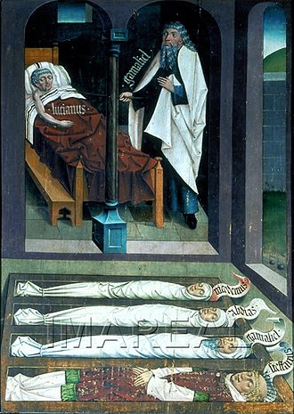 Gamaliel - Gamaliel reveals himself for Lucianus in a dream. 15th century painting.