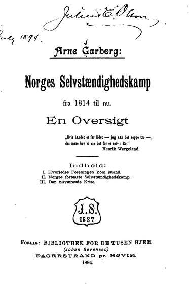 File:Garborg - Norges Selvstændighedskamp.djvu