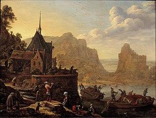 Gefantaseerd rivierlandschap met de kapel van het Sint Agnietenklooster te Utrecht