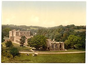 Furness Abbey - The ruins of Furness Abbey seen from the south in the 1890s