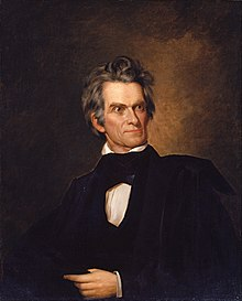 Oil on canvas painting of John C. Calhoun, perhaps in his fifties, white shirt, black robe, full head of graying hair