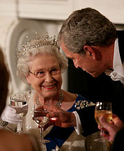 George W. Bush toasting Elizabeth II during a dinner in her honour, at the White House on a state visit to America in 2007.