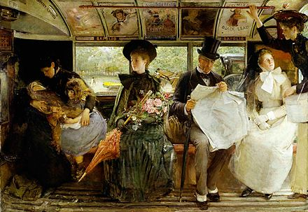 George William Joy's depiction of the interior of a late 19th Century omnibus conspicuously shows the advertisements placed overhead George William Joy - The Bayswater Omnibus.jpg