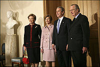 George and Laura Bush, King Albert II and Queen Paola of Belgium.jpg